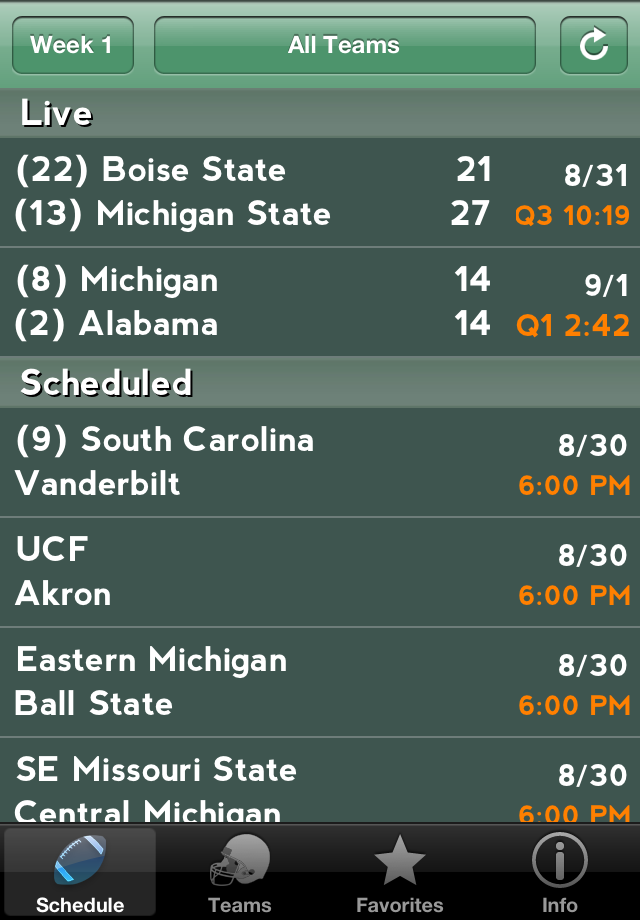 g football football college scores live